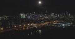 Anzac Bridge Night, Sydney Night Skyline Stock Footage