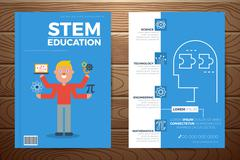 Stem education book cover and flyer template Stock Illustration