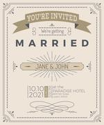Vintage wedding invitation card Stock Illustration