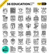 Education & Learning pixel perfect outline icons Stock Illustration