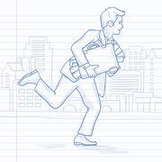 Man running with suitcase full of money Stock Illustration