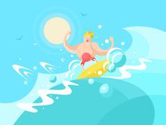 Surfer on the a wave crest - stock illustration