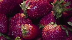 Fresh Strawberries for breakfast Stock Footage