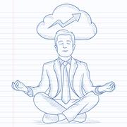 Peaceful businessman meditating Stock Illustration