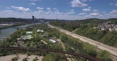 Slowly Moving Aerial View Pittsburgh Skyline - stock footage