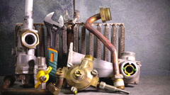 the part of gas boiler, water fittings and adjustable spanner - stock footage