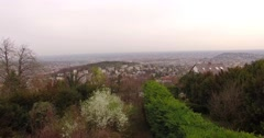 Ascending from the bushes, over the city Stock Footage