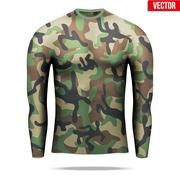 Under layer compression shirt with long sleeve in camouflage style Stock Illustration