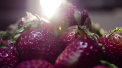 Fresh Strawberries for breakfast Stock Footage