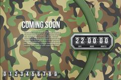 Background Coming Soon and countdown timer. Camo Vector - stock illustration