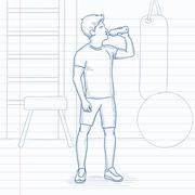 Man drinking water Piirros