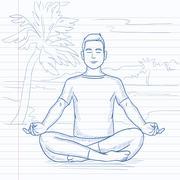 Man meditating in lotus pose - stock illustration