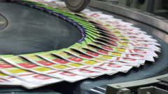 print plant factory, magazine transports on conveyor belt line after printing - stock footage