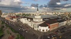 Famous Moscow Kazansky railway station. People travel.  Stock Footage