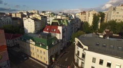 Old Moscow city center. Narrow small streets and classic buildings. Road traffic - stock footage
