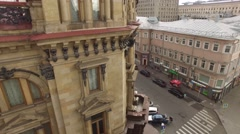 Old Moscow city center. Narrow small streets and classic buildings. Road traffic Stock Footage