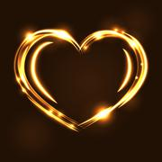 Gold heart light tracing effect Stock Illustration