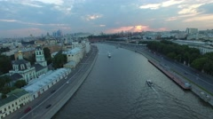 Moscow city center dramatic sunset aerial view. Mosocw river and Kremlin. - stock footage