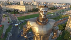 First cosmonaut Gagarin monument in Moscow Russia. Aerial drone footage, close f - stock footage