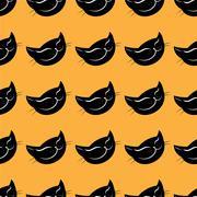 Seamless pattern black cat head Stock Illustration