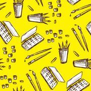 Seamless pattern art tools  .Hand drawing Stock Illustration