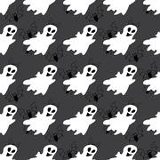 Seamless pattern with white ghosts. Stock Illustration