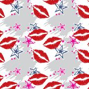 Seamless pattern  red lips with stars - stock illustration