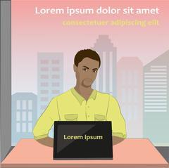 Man sitting on computer, vector Stock Illustration