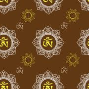 Seamless pattern  with Om ornament Stock Illustration