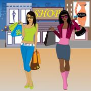 Shopping woman on the background of the city Stock Illustration