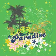 Surfing paradise Vector Stock Illustration