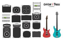 Electric Guitar and Bass Amplifiers Stock Illustration