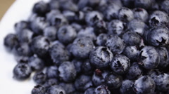 Closeup overhead establishing shot of fresh and tasty blueberries ready to eat - stock footage