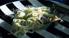 Eating Spaghetti pasta carbonara closeup Stock Footage