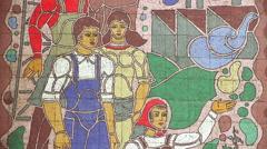 Soviet-era wall mosaic Stock Footage