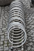 Metal Spiral - Stainless Steel bicycle racks Stock Photos