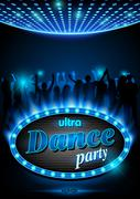 Neon Sign Dance Party Stock Illustration