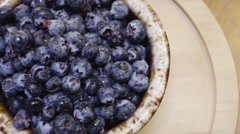 Overhead panning shot of farm to fresh blueberries - stock footage
