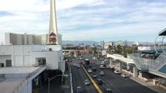 Las Vegas city traffic with Stratosphere hotel in background 4k - stock footage