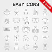 Collection of cute baby icons Stock Illustration