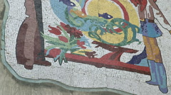 Soviet-era wall mosaic - stock footage