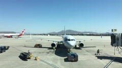 Time Lapse of airplane taxied back from terminal gate at Las Vegas Airport 4k Stock Footage