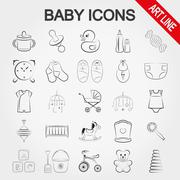 Collection of cute baby icons - stock illustration