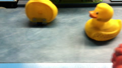 Ducks being punched in arcade game Stock Footage