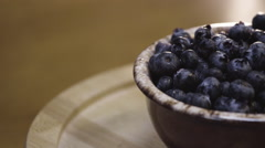 Fresh bowl of blueberries Stock Footage