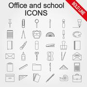 Office and school supplies icons set Stock Illustration