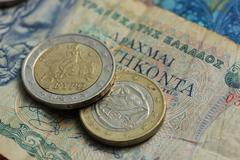 Greek and euro money Stock Photos