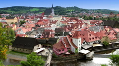Panorama of city and historic castle in Cesky Krumlov . Czech Republic Stock Footage