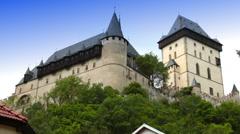 Karlstejn medieval Castle. Bohemia, Czech Republic Stock Footage