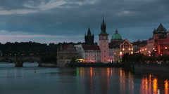 Beautiful Cityscape of Prague at night with Charles Bridge Karluv Most  over - stock footage